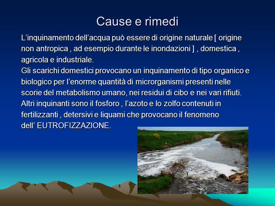 Cause e rimedi L'inquinamento dell'acqua può essere di origine naturale [ origine. non antropica , ad esempio durante le inondazioni ] , domestica ,